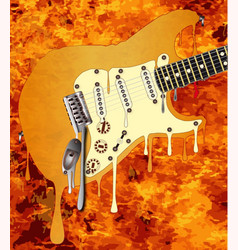 flames melting guitar vector image