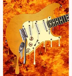 Flames melting guitar vector