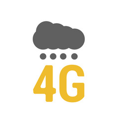 Flat 4g logo with signal dots and cloud vector