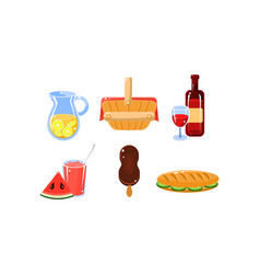 Flat set of traditional french picnic food vector