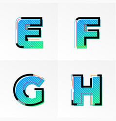 font alphabet set letters e f g h gradient color vector image
