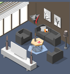 Futuristic lounge interior isometric background vector