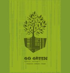 Go green recycle reduce reuse logo design vector