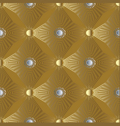 gold 3d stars and sun seamless pattern greek vector image