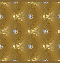 Gold 3d stars and sun seamless pattern greek vector