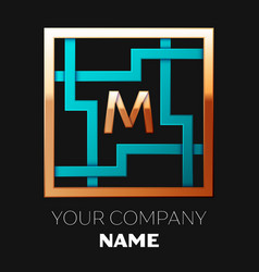 golden letter m logo symbol in the square maze vector image