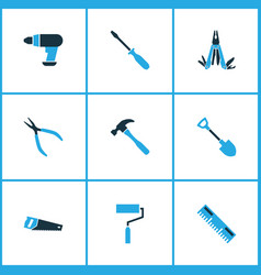 handtools icons colored set with drill vector image