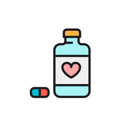 Heart disease pills flat color line icon isolated vector