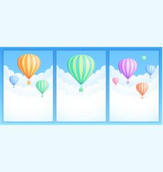 hot air balloon sky adventure banner collection vector image