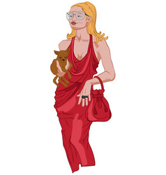 Joyful woman in elegant red dress holding her vector