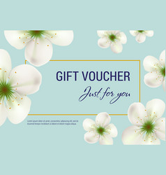 Just for you gift voucher design with white vector