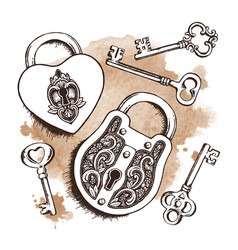 keys and locks over watercolor background vector image