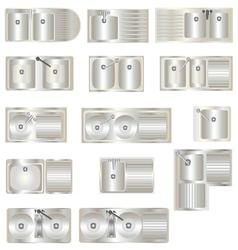 Kitchen Equipment Sinks top view set 3 vector image