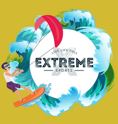Kitesurfing water extreme sports isolated design vector