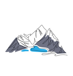 Lake in the mountains one continuous line art vector