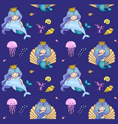 little mermaid with dolphin jellyfish seashell vector image