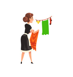 Maid hanging clean wet clothes out to dry vector