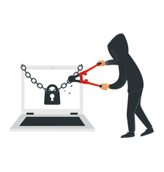Male hacker in black clothes hacks laptop security vector