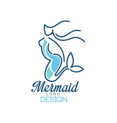 Mermaid logo design silhouette of mermaid for vector