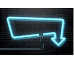 Neon blue arrow isolated on black brick wall vector