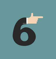 Number 6 letter businessman hand font it shows vector