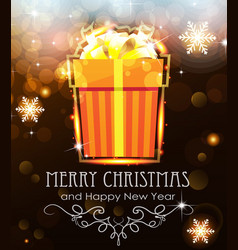Orange christmas gift on holiday background vector