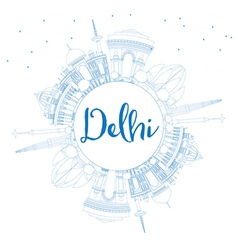 Outline Delhi Skyline with Blue Buildings vector image