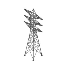 Power transmission tower isolated on white vector