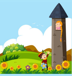 prince and princess in the tower vector image