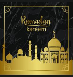 ramadan kareem golden glitter town and marble vector image