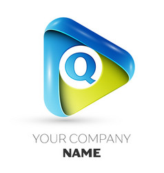 Realistic letter q logo colorful triangle vector