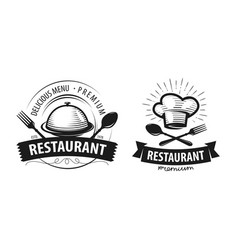 Restaurant logo or label emblems for menu design vector