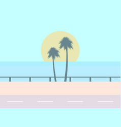 road on the background of the beach the sun with vector image