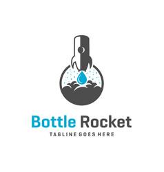 rocket bottle logo design vector image