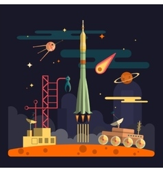 Rocket launch on space landscape background vector