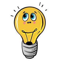 Sad lightbulb on white background vector