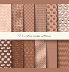 seamless coffee pattern set vector image