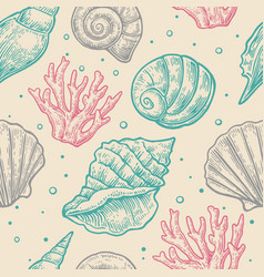 Seamless pattern sea shell engravin vector