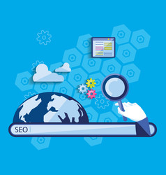 search engine optimization with world planet vector image