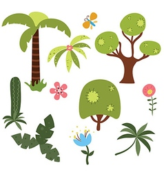 Set of African trees vector