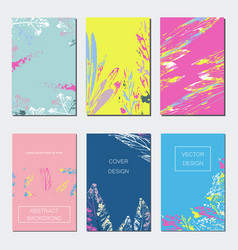 Set of artistic creative universal cards hand vector