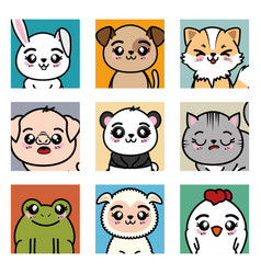 set of cute animals cartoon vector image