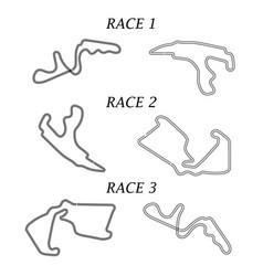 set of race tracks vector image