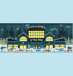 Shopping in the city winter vector