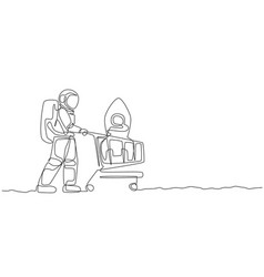 Single continuous line drawing young astronaut vector