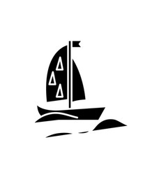 sports yacht black icon sign on isolated vector image