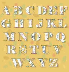 Spring floral alphabet vector