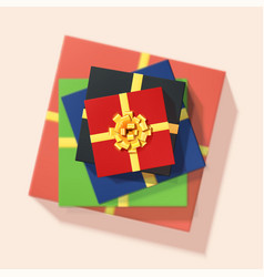stack colored gift boxes 3d vector image
