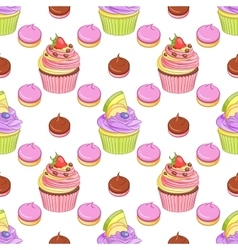 Strawberry chocolate and blueberry lemon cupcakes vector image