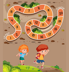students on board game templath vector image